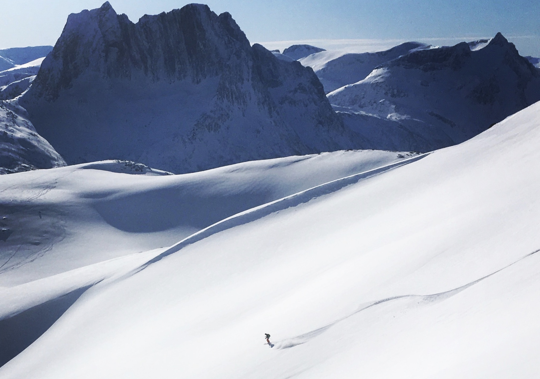 A lone off piste skier in senja norway
